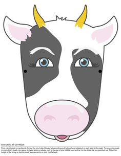 cow printable mask cut out eyes tie with string Diy For Kids, Crafts For Kids, Arts And Crafts, Printable Masks, Printables, Cow Mask, Felt Mask, My Father's World, Paper Mask