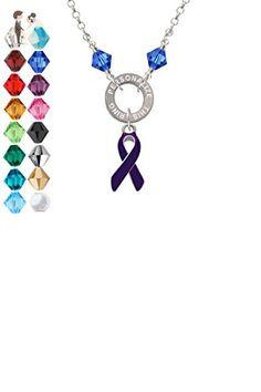 Purple Enamel Awareness Ribbon - Custom Engraved Eternity Circle Crystal Necklace - Wedding nacklaces (*Amazon Partner-Link)