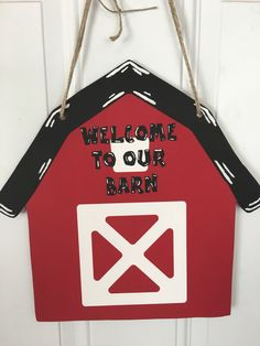 A personal favorite from my Etsy shop https://www.etsy.com/listing/463075847/door-hanger-welcome-to-our-barn-door