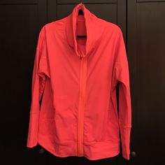 Lululemon size 12 Bright coral jacket Ask me anything about this jacket - price firm lululemon athletica Tops