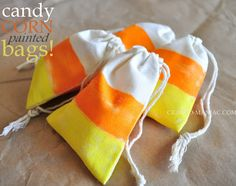 DIY candy corn painted bags