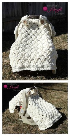 Chunky Crochet Blankets Crochet Chunky Celtic Weave Car Seat Canopy Pattern free patterns - Crochet Baby Car Seat Cover to keep your little ones cozy. The basic pattern allows you to embellish and adapt to gender and theme/color preferences Crochet Blanket Patterns, Baby Blanket Crochet, Baby Patterns, Crochet Stitches, Crochet Blankets, Knitting Patterns, Blanket Yarn, Crochet Afghans, Crochet For Kids