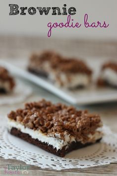 Brownie Goodie Bars made with brownies, frosting and a delicious layer of crispy peanut butter goodness!