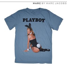 MARC BY MARC JACOBS MARC BY marc jacobs Kate Moss Playboy Tee T-shirt... ($87) ❤ liked on Polyvore featuring tops, t-shirts, clothes - tops, shirts, marc by marc jacobs t shirt, marc by marc jacobs shirt, blue short sleeve shirt, short sleeve t shirt and marc by marc jacobs