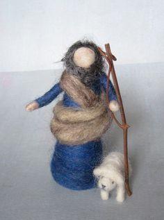 Needle Felted Nativity Set, Good shepherd, Christmas, Original design by Borbala…