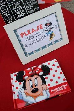 Guestbook at a Minnie Mouse birthday party! See more party planning ideas at CatchMyParty.com!