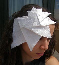 Free Shipping -Headband white origami spiral pleated hat -OOAK- Ready to ship-. via Etsy.