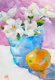 """Original pintada a mano Pintura Acuarela hermosas flores frescas cortadas florero azul con naranja, gran regalo! - """"Pintar con 8x10"""" 5x7 estera"""