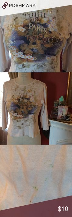 Paris Tee Shirt Preloved Paris top with tiny specs of paint on it (see pics 3 & 4) which actually add to the authentic look of art in Paris. Olivia Paige Petite Tops Tees - Long Sleeve