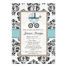 Blue and Black Damask Baby Shower Invitations