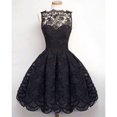 Stylish Round Neck Sleeveless Solid Color Hollow Out Lace Women's Dress (BLACK,M) in Lace Dresses | DressLily.com