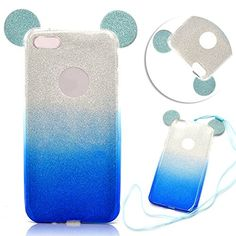 TPU Silicone Case iPhone 6 6S Silicone Cover Soft TPU Protector for iPhone 6 6STYoung Mickey Mouse Ear Portable Case Cover with Lanyard Strap Bing Bumper Flexible Shell for iPhone 6 6S  Blue *** Click on the image for additional details. (Note:Amazon affiliate link)