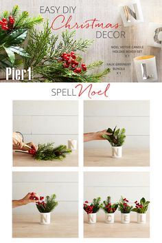 Holiday floral arrangement inspiration from Pier 1: Bring some classic holiday color to your windowsill, coffee table or desk with this simple combination for a result that's beyond words. Well, almost.