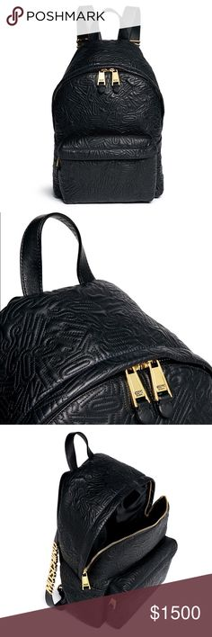 Moschino Logo Embossed Leather Backpack ✨New without tags ✨Black calfskin nappa leather with all over logo embossing ✨Single top handle, two back straps w/ adjustable buckles, & gold-tone plated metal logo plates ✨One exterior front zip compartment ✨Two-way top zip closure ✨One phone slot, one interior slip pocket, cardholder, and zip pocket ✨Sateen lining ✨Dust bag included ✨Measurements: Top Length 24cm / Base Length 28cm / Width 13.5cm / Height 37cm / Handle Drop 8cm / Shoulder Strap 67cm…