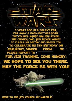 Ryker's Star Wars Party Invitation