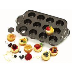 Norpro 3919 Mini Cheesecake Pan with 12 individual cups; ideal for muffins, quiche, and individual cheesecakes. Each cup measured 2 x 2 x inches; Nonstick coating with removable bottoms to enable easy food release. Mini Cheesecake Pan, Cheesecake Recipes, Cheesecake Bites, Cake Decorating Supplies, Baking Supplies, Baking Tools, Mini Cakes, Cupcake Cakes, Cupcakes