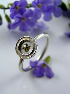 Tiny Sterling Silver and 9ct Yellow Gold Button by CherishButton, $275.00