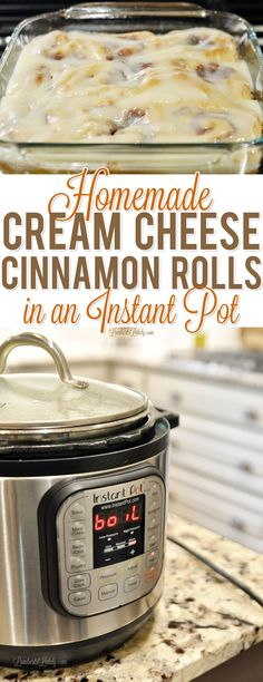 Learn how you can use your Instant Pot to make the prep process for from scratch cream cheese cinnamon rolls so much easier! These are great for a holiday like Christmas morning. via @lambertslately
