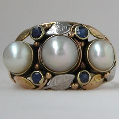 Gold Antique Arts and Crafts Pearl and Sapphire Ring
