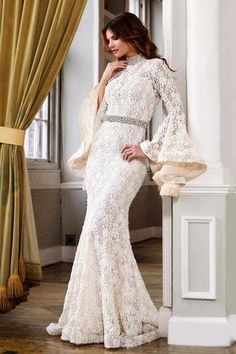 Bell Sleeve Wedding Gown 22201