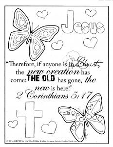 Free Printable Coloring Page with Scripture Verse 2 Corinthians 5:17