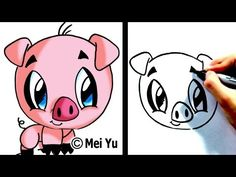 How to Draw a Cartoon Pig ...this girl does all kinds of cartoon animals.