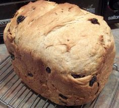 Modify the recipe as follows: 1 cup water 2 tablespoons margarine 2 cups All Purpose Flour; 1 cup Whole Wheat Flour 3 tablespoons BROWN Sugar 1 teaspoon salt 2 teaspoons cinnamon 2 teaspoons yeast 1 cup SOAKED raisins (soaked in hot water to plump them up)