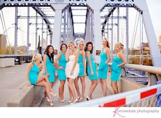 I love how bright the bridesmaids dresses are!
