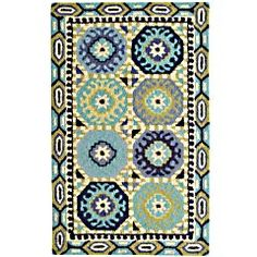 {have to see in person, not sure I like yet} Blue Block Medallion Rug