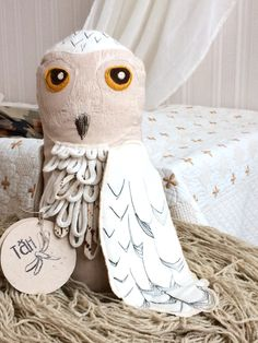 Snowy Owl, Linen Plush Trending Toy, Sensory Pillow
