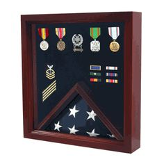 Military Flag And Medal Display Case - Shadow Box Hand Made By Veterans