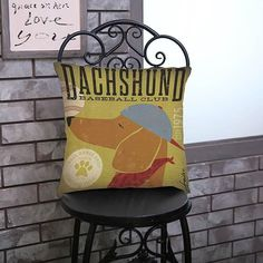 Vintage Dachshund Throw Pillow Case Linen Cushion Cover Case Variety of Breeds Available