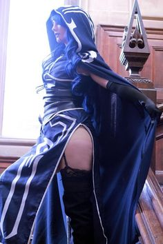 Magic The Gathering card game cosplay of Rule 63 Jace the Mind Sculptor