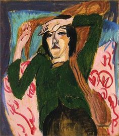 Woman in a Green Blouse (1913) by Ernst Ludwig Kirchner (1880-1938), German Expressionist (Anemalon's Blog)
