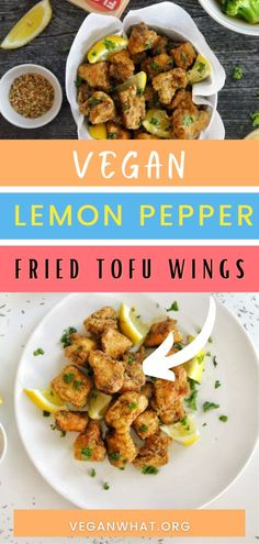 These lip smacking lemon pepper fried tofu wings are a deicious vegan dish made with the perfect blend of lemon, spice, and everything nice. The extra firm tofu is fried to crispy perfection. It's topped with lemon pepper seasoning, lemon juice and a rich vegan buttery sauce. Tofu Recipes, Vegan Dinner Recipes, Delicious Vegan Recipes, Tofu Dishes, Vegan Main Dishes, What Is Tofu, Tofu Sandwich, White Sauce Pasta, Healthy Vegan Breakfast