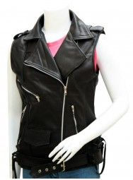 Modern Women Black Leather Motorcycle Vest