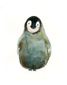 BABY PENGUIN Original watercolor painting 8x10inch(Vertical orientation)