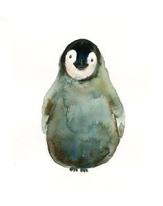 BABY PENGUIN Original watercolor painting 8x10inch(Vertical orientation)