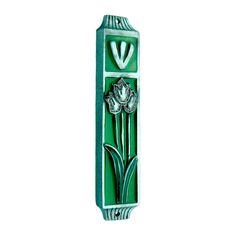 Tulips Mezuzah - Green | Mezuzah Store