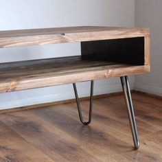 Vintage-Retro-Box-TV-Stand-w-Metal-Hairpin-Legs-Solid-Wood-Rustic-Unit-Table
