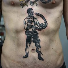 Old School Snake and Man Tattoo by Philip Yarnell