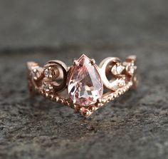 Morganite Wedding Set Morganite Wedding Ring Set Rose Gold | Etsy