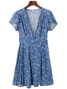 'Marinda' Floral V-neck Wrap Flare Dress