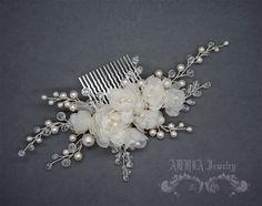 Flower Wedding Hair Piece Flower Headpiece Pure by adriajewelry