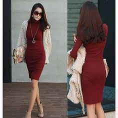 New Fashion Womens Seamless Stretch Long Sleeve Turtleneck Dress