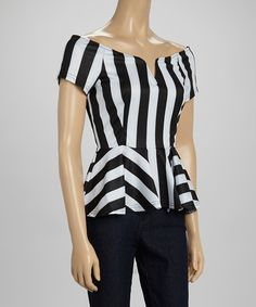 Look what I found on #zulily! Swoon Black & White Stripe Off-Shoulder Peplum Top by Swoon #zulilyfinds