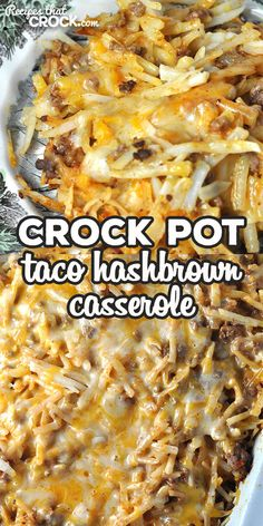 This Taco Crock Pot Hashbrown Casserole recipe is super simple and really delicious! It is sure to be a family favorite the first time you make it! Crock Pot Food, Crock Pot Tacos, Crockpot Dishes, Crock Pot Slow Cooker, Slow Cooker Recipes, Crockpot Recipes, Cooking Recipes, Chicken Recipes, Hashbrown Casserole Recipe