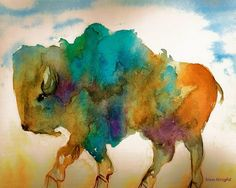"""A watercolor interpretation of a young wild buffalo roaming the plains. The colors represent the 4 races of Native Americans: black, white, red and yellow. Colorful and loosely painted using the limited palette of three primary watercolors."" By Nan Wright"