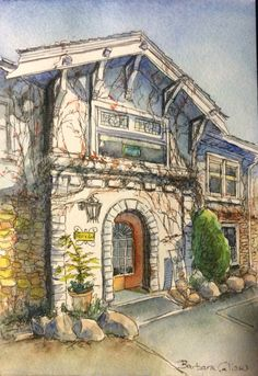 Watercolour and ink Watercolor And Ink, Paintings, Mansions, House Styles, Artist, Decor, Sketches, Mansion Houses, Decorating