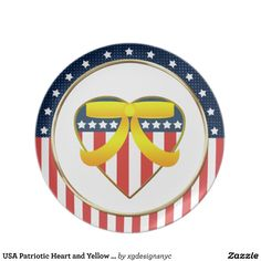 USA Patriotic Heart and Yellow Ribbon Plate. #USA #American #Patriotic #Military #Plate